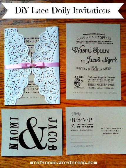 DIY Doily Lace Wedding Invitations